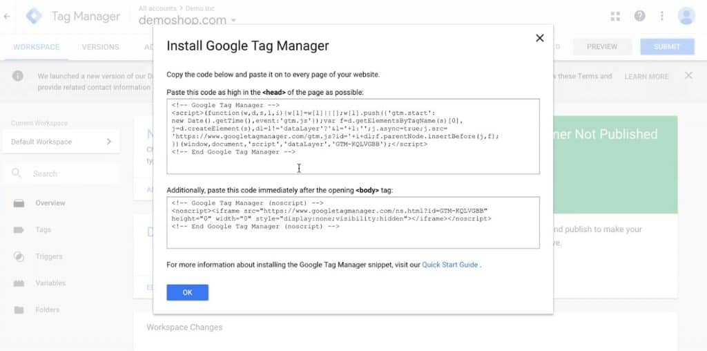 Code snippet to install Google Tag Manager on your website