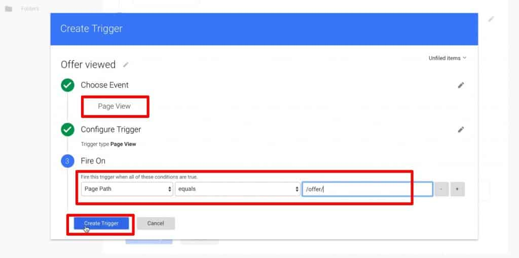 Create Trigger in Google Tag Manager that fires only when the conditions are met