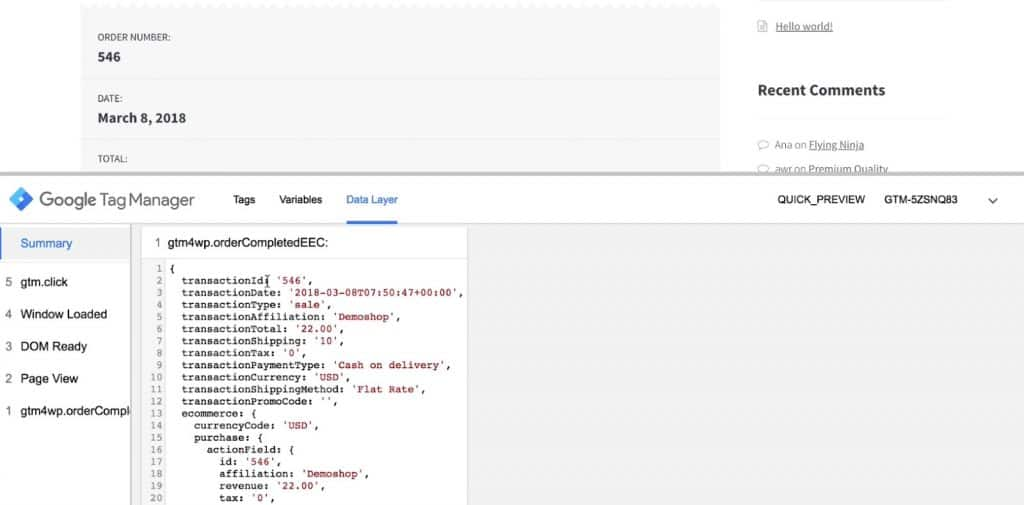 Data layer for a completed conversion in Google Tag Manager