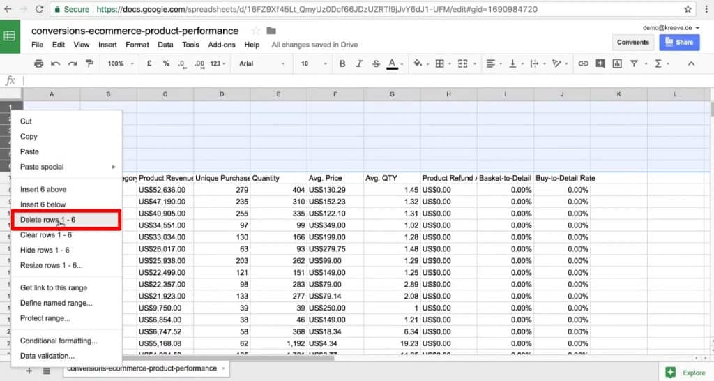 Deleting empty rows in the Google Sheets to clean up data