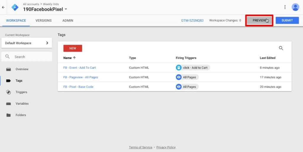 Entering Preview mode in Google Tag Manager