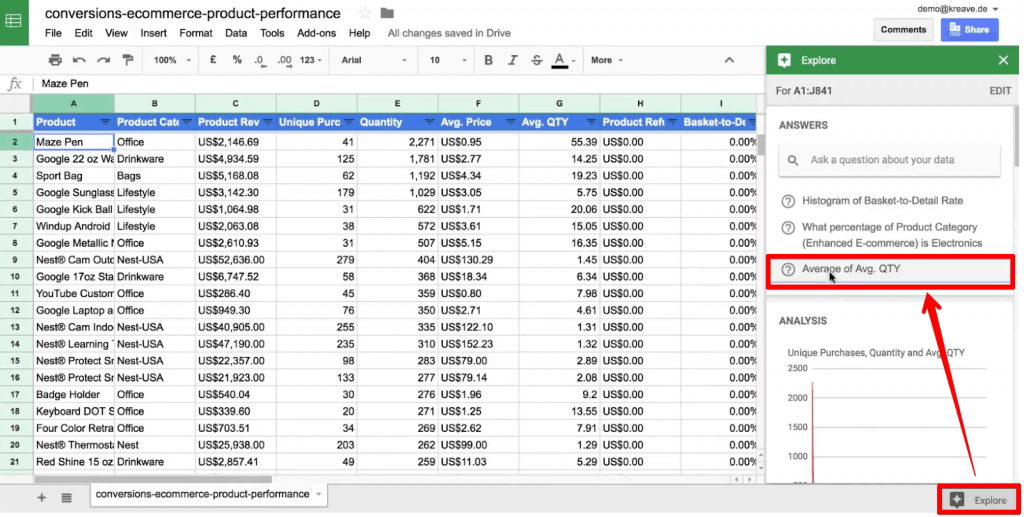 Explore option in Google Sheets for artificial intelligence