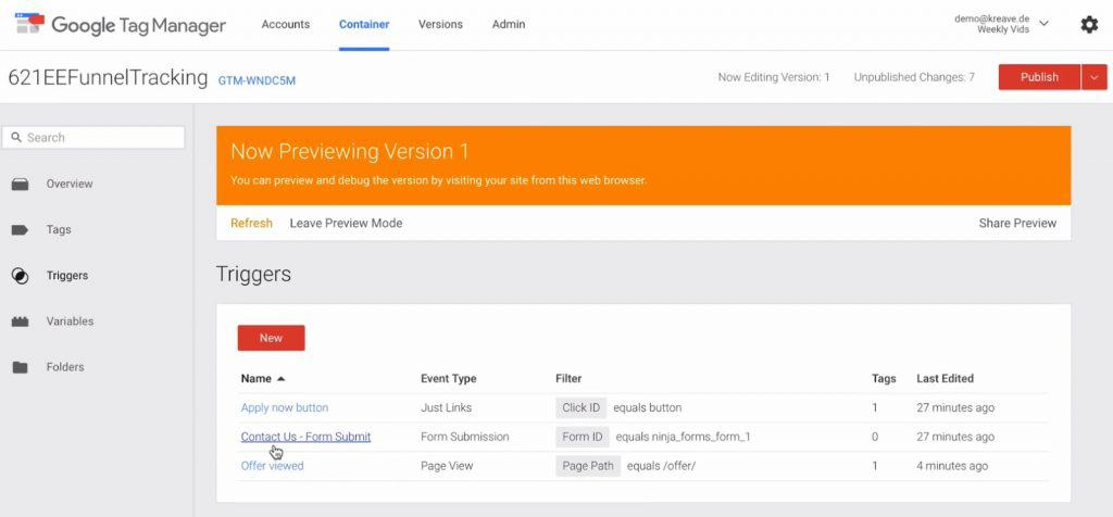 Form Submit trigger created in Google Tag Manager