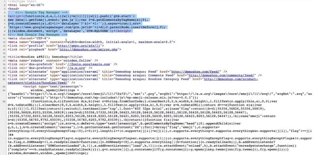 Google Tag Manager code snippet in the head section of the page source of the website