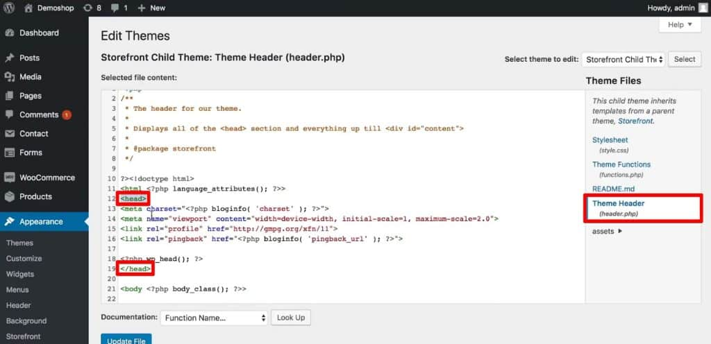 Head tags in the Theme Header file in WordPress