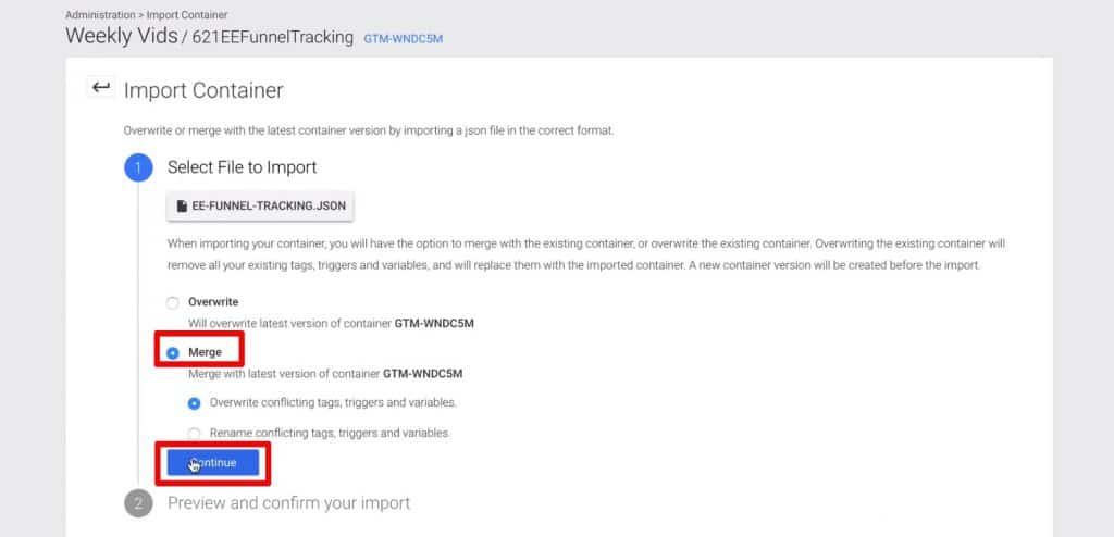 Importing Container in Google Tag Manager