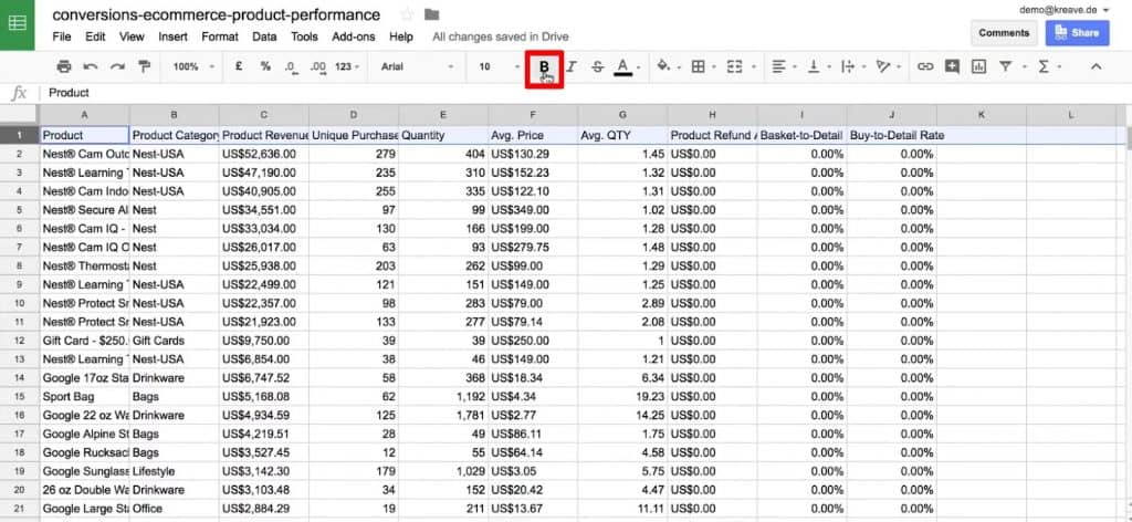 Making the header row bold in Google Sheets