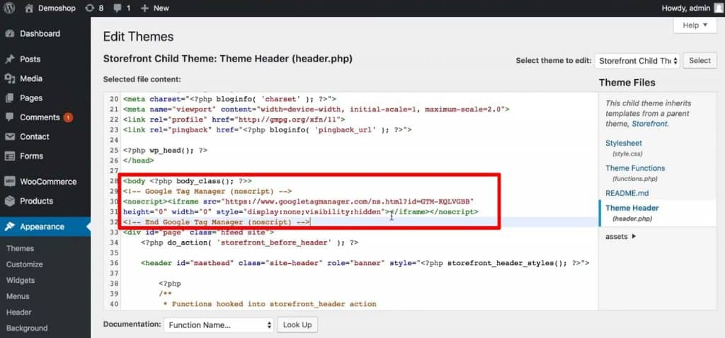 Paste the code snippet from Google Tag Manager below the opening body tag