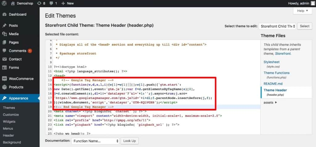 Paste the code snippet from Google Tag Manager below the opening head tag