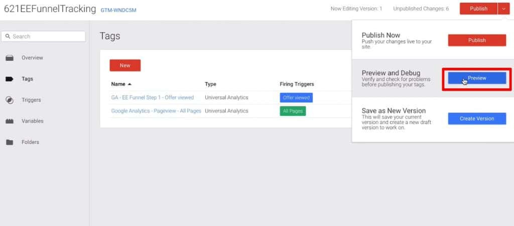 Preview mode of Tags in Google Tag Manager