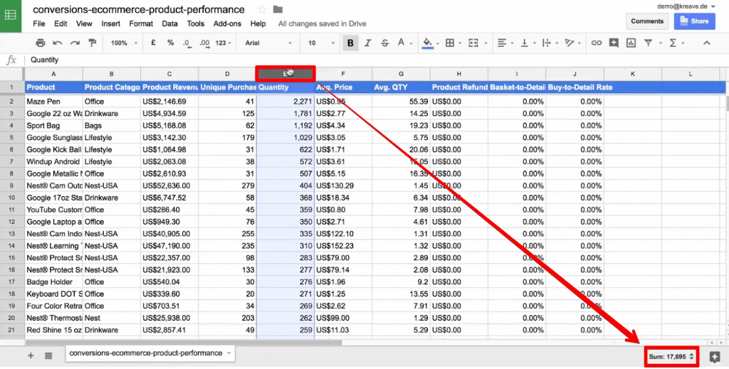 Quick Sum function to add values of a column in Google Sheets