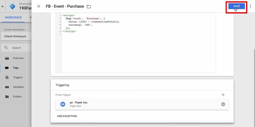 Saving the Facebook Purchase Pixel in Google Tag Manager