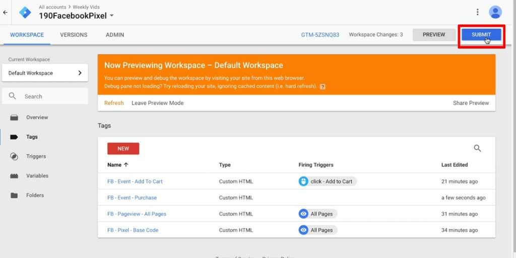 Submit the Workspace Changes in Google Tag Manager
