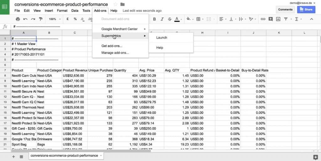 Supermetrics add-on to import data from Google Analytics