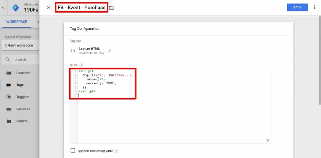 Tag Configuration of Custom HTML type Tag in Google Tag Manager