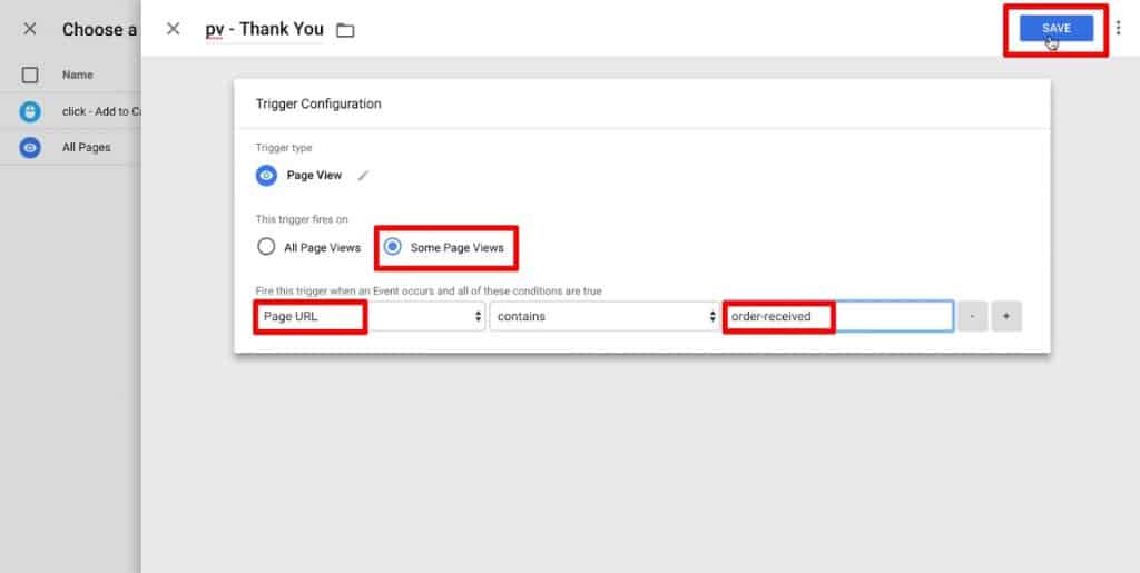 Trigger Configuration of a Page View trigger in Google Tag Manager