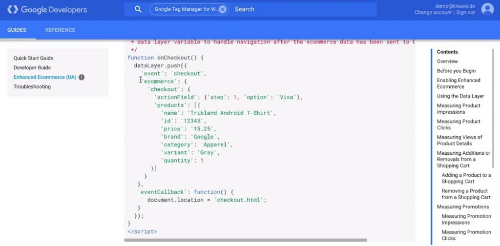 data layer to push eCommerce object in Google Tag Manager