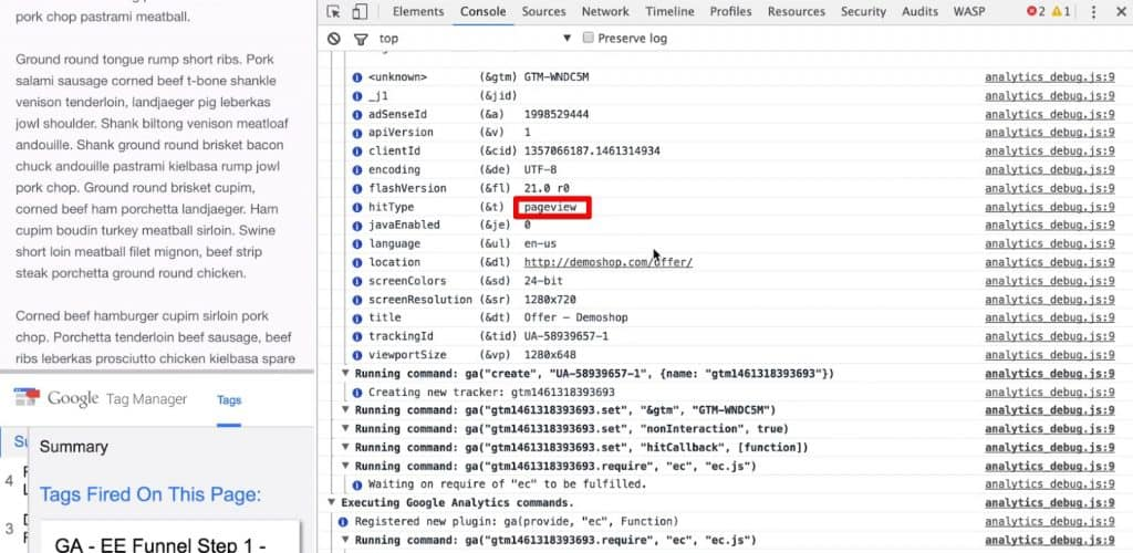 pageview sent to Javascript Console