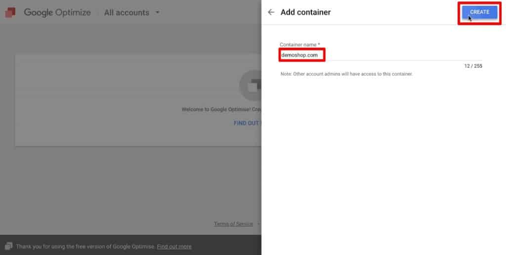 Add container to a new account in Google Optimize