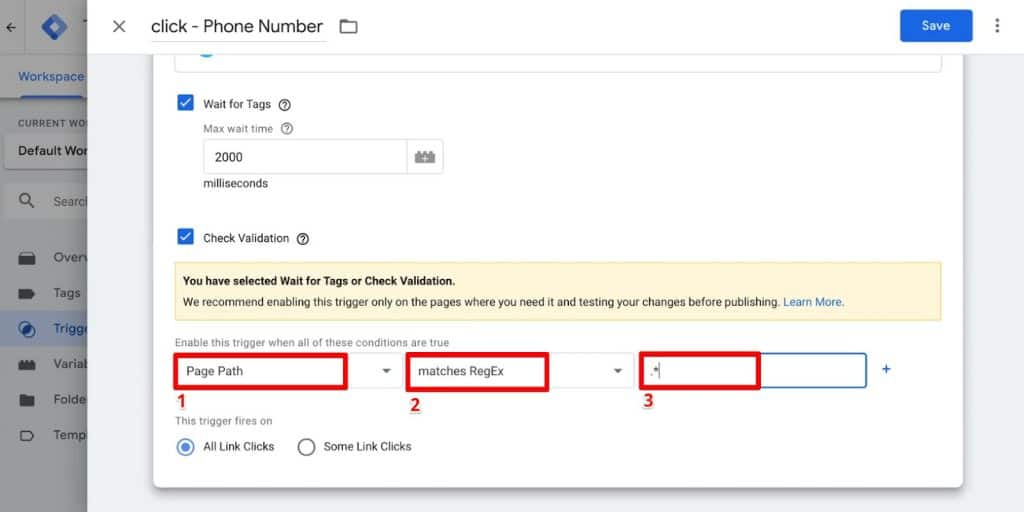 Check Validation option for Phone Number click Trigger Configuration in Google Tag Manager