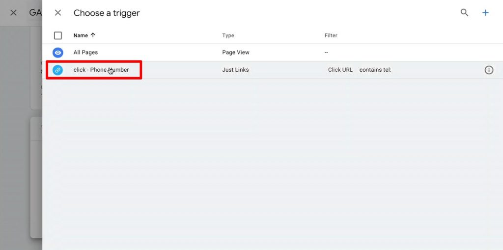 Choose a click trigger for Phone Number tracking in Google Tag Manager