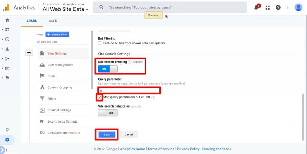 Configuring the Site search Tracking in Google Analytics