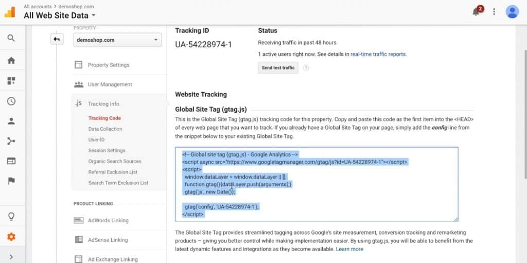 Gtag.js version of Google Analytics tracking code
