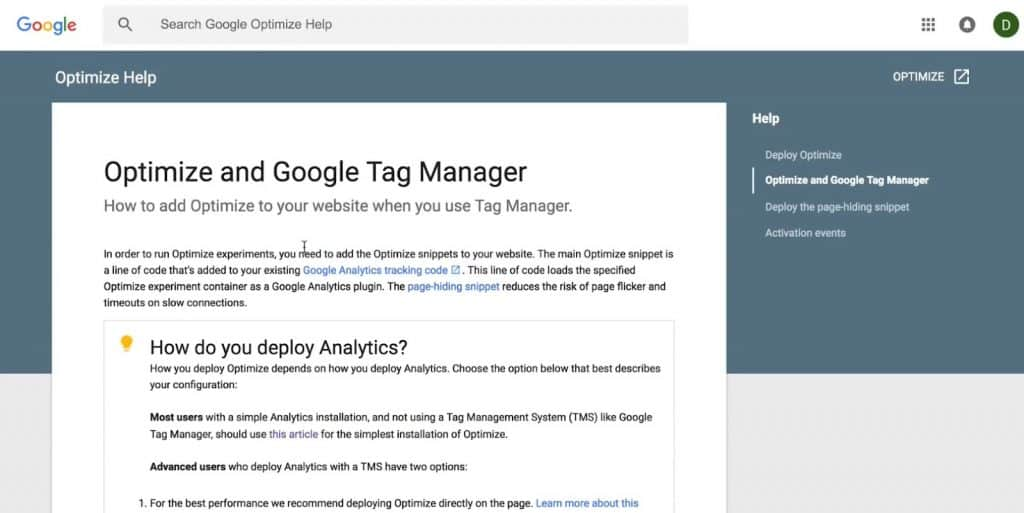 Optimize Help to add Optimize to your website using Google Tag Manager