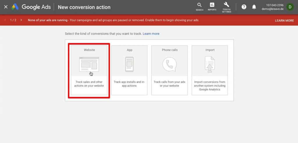 Select the kind of conversion as Website in Google Ads