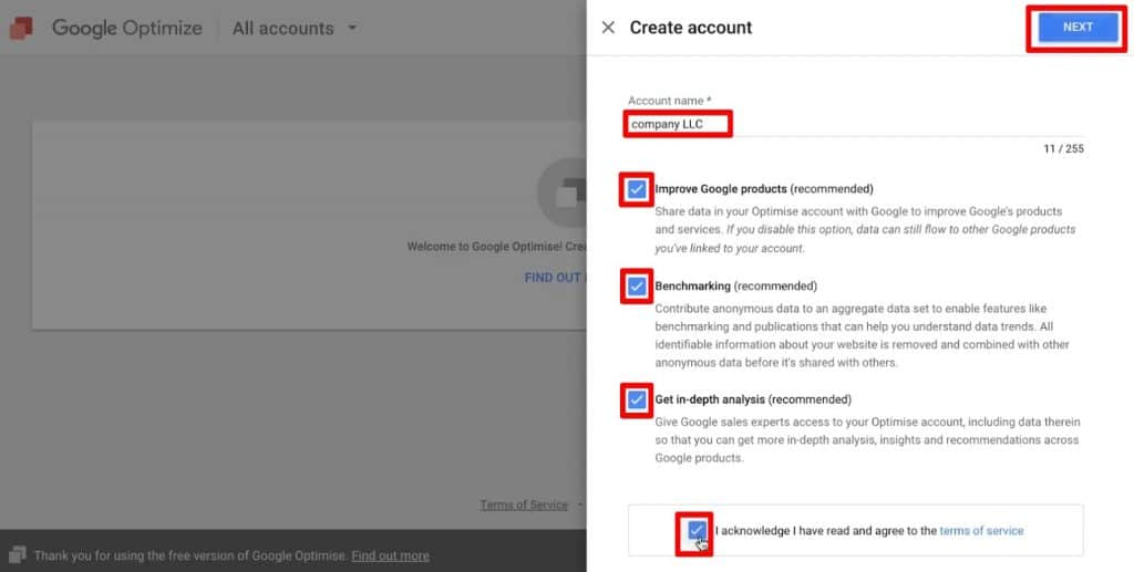 The first step to set up a new account in Google Optimize
