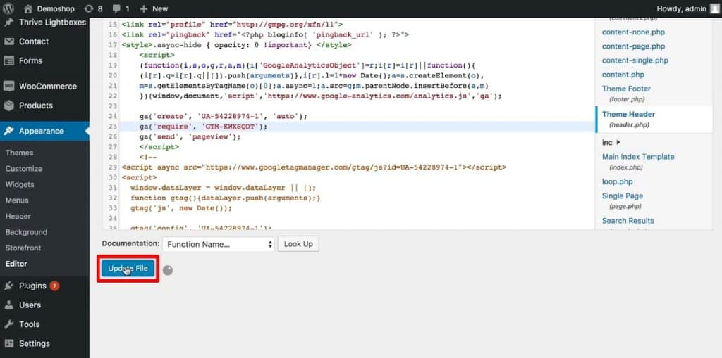 Update the Theme Header PHP in WordPress Theme Files