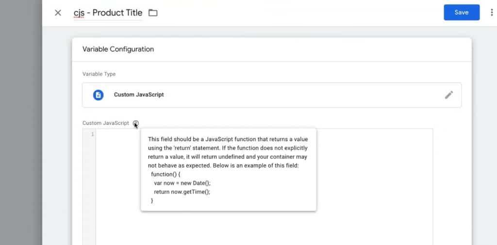 A Custom JavaScript variable must return a value