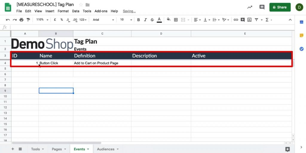 Adding Event details such as Name, Definition, Description, etc. in the Tag plan