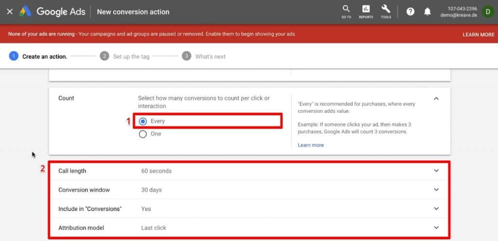 Configuring a conversion action on when to count an interaction in Google Ads