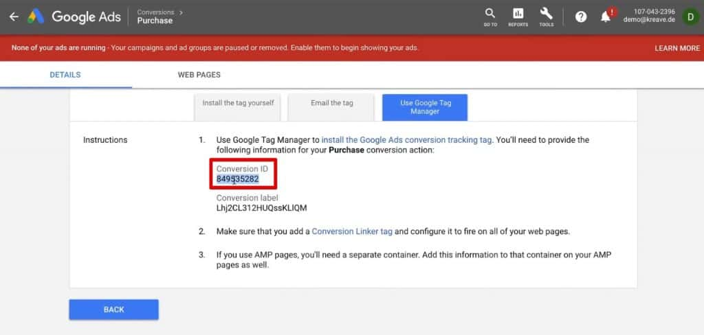 Copying the Conversion ID of our Purchase Conversion action of Google Ads