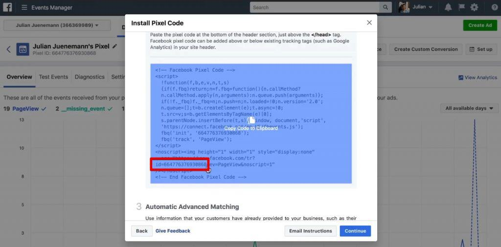 Copying the Pixel ID from Facebook Pixel Code