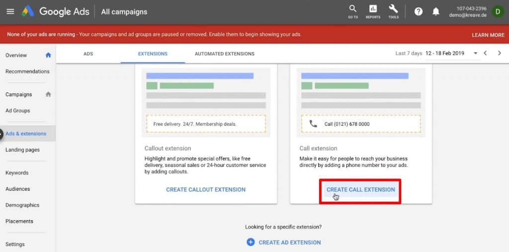 Creating a call extension in Google Ads