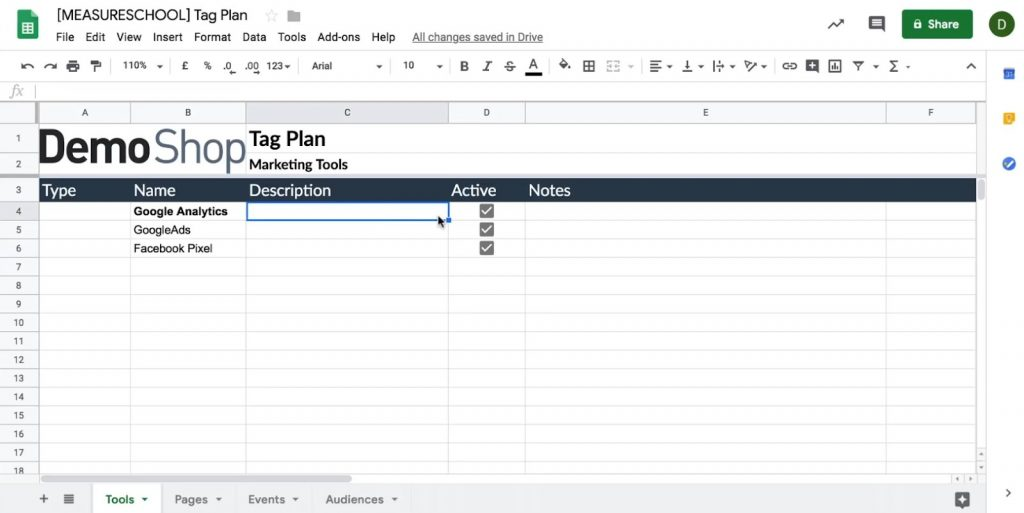 Entering the Name, and Active status for the tools in the Tag Plan template