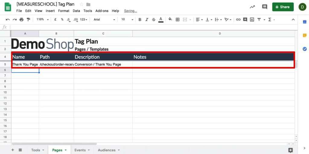 Name, Path, Description and Notes of the Pages tab in Tag plan