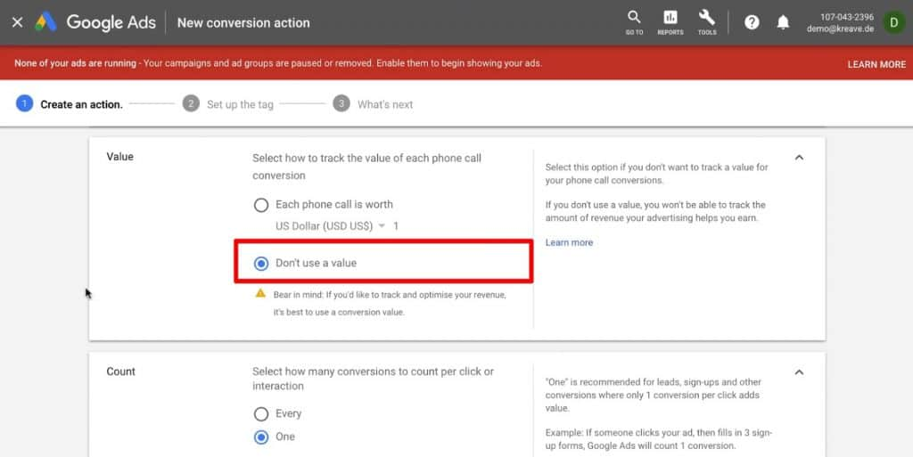 Selecting how to track the value of each phone call conversion in Google Ads