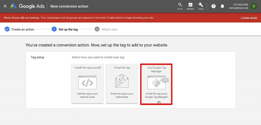 Selecting the option to install Tag using Google Tag Manager in Google Ads