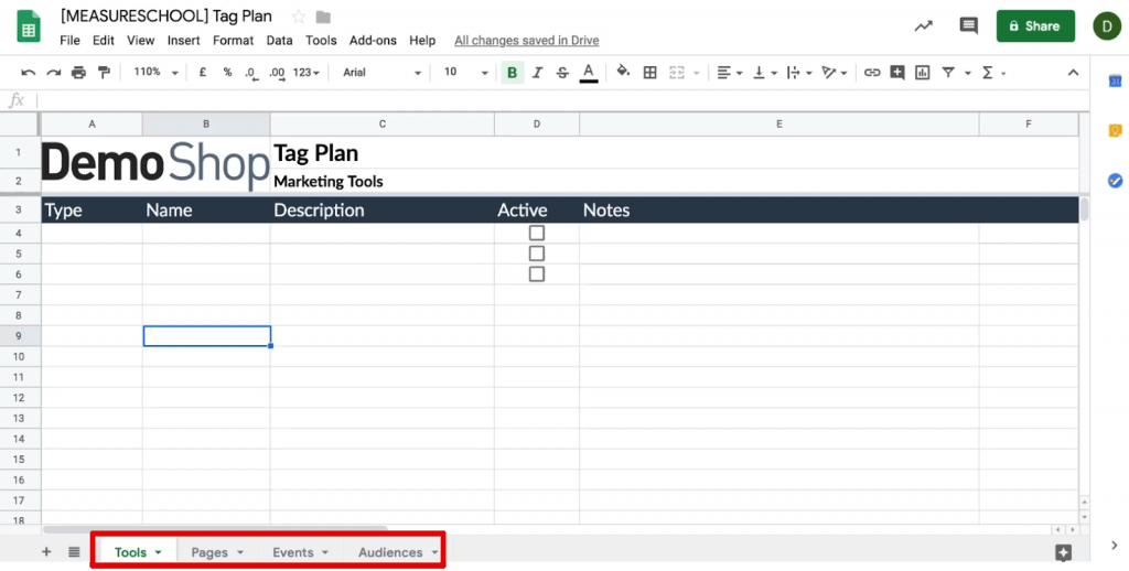 Tag planning template in Google Sheets to track Tools, Pages, Events & Audiences