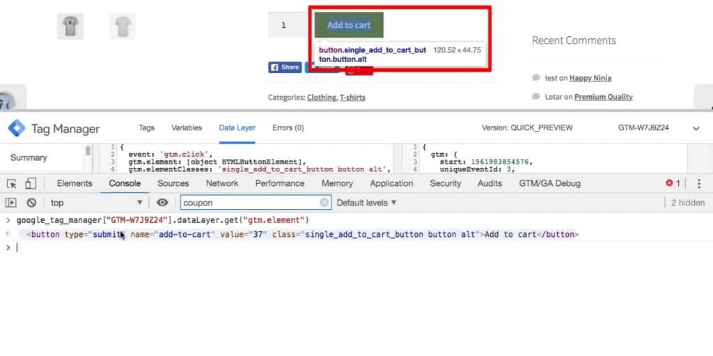 The Add to cart button gets highlighted when we hover over the return statement in Developer Tools