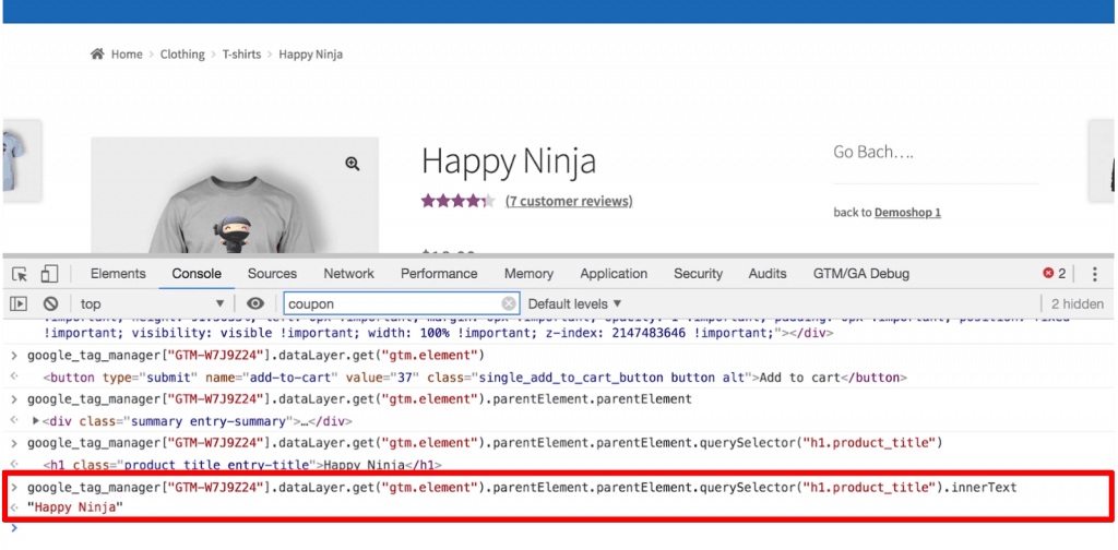 The Console returns the text of the product title that is within the element