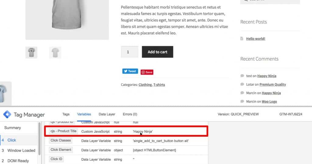 cjs-Product Title is Happy Ninja under the Variables menu of Google Tag Manager preview mode