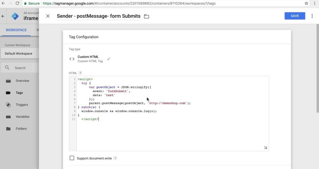 custom HTML tag configuration for postMessage sender
