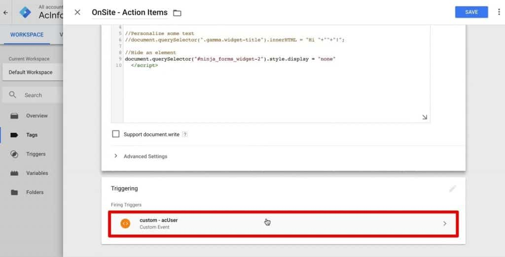 Attaching the custom - acUser trigger to the OnSite - Action Items Tag in Google Tag Manager