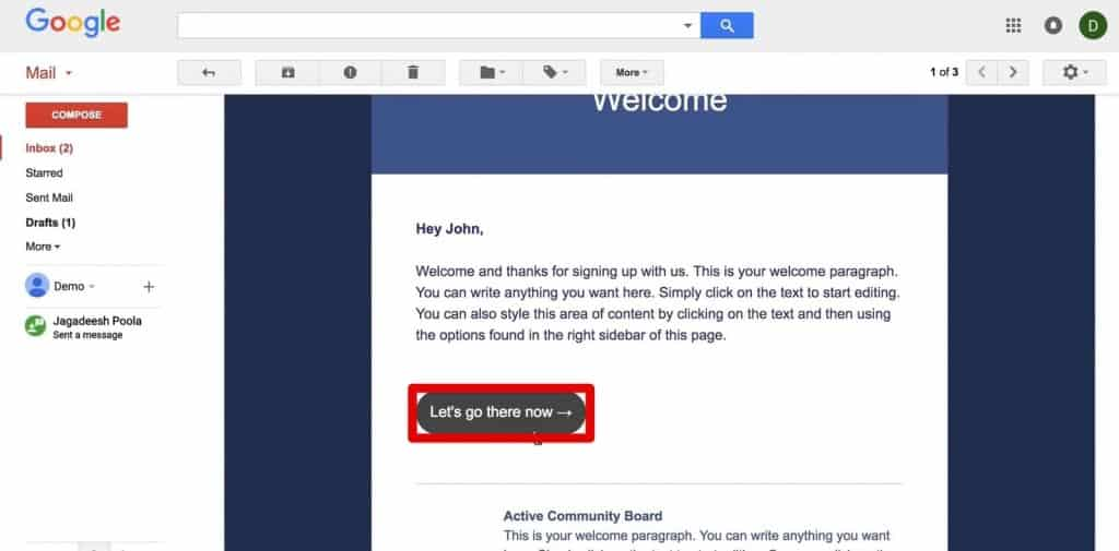 Button in the test newsletter with custom URL attached in ActiveCampaign