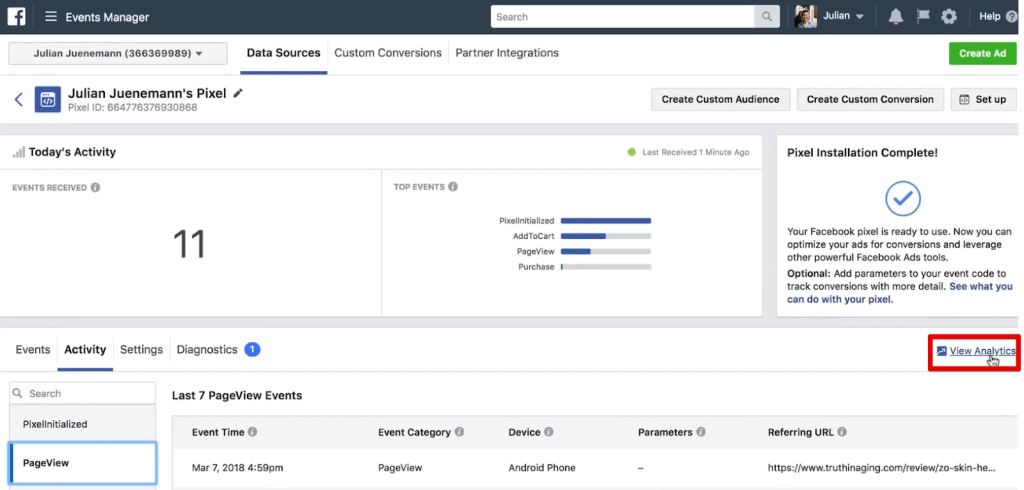Clicking on View Analytics to go to Facebook Analytics in Facebook Pixel