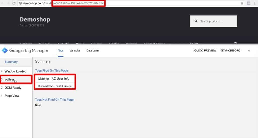 Contact hash and AC User Info Listener Tag fired in the preview and debug console of Google Tag Manager